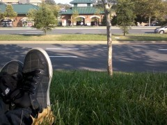 Relaxing, watching traffic, eating Subway